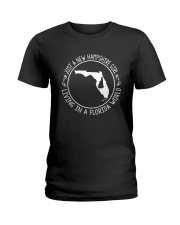 NEW HAMPSHIRE GIRL LIVING IN FLORIDA WORLD Ladies T-Shirt tile