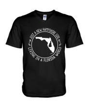 NEW HAMPSHIRE GIRL LIVING IN FLORIDA WORLD V-Neck T-Shirt thumbnail