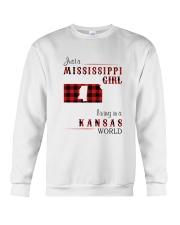 MISSISSIPPI GIRL LIVING IN KANSAS WORLD Crewneck Sweatshirt thumbnail