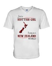 SCOTTISH GIRL LIVING IN NEW ZEALAND WORLD V-Neck T-Shirt thumbnail
