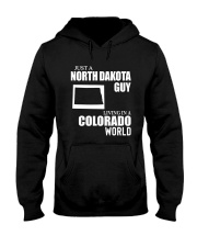 JUST A NORTH DAKOTA GUY LIVING IN COLORADO WORLD Hooded Sweatshirt thumbnail