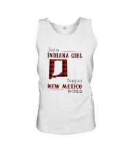 INDIANA GIRL LIVING IN NEW MEXICO WORLD Unisex Tank thumbnail