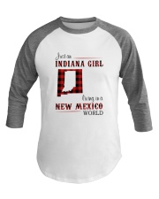 INDIANA GIRL LIVING IN NEW MEXICO WORLD Baseball Tee tile