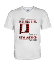 INDIANA GIRL LIVING IN NEW MEXICO WORLD V-Neck T-Shirt thumbnail