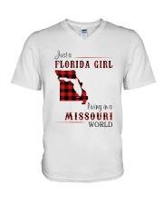 FLORIDA GIRL LIVING IN MISSOURI WORLD V-Neck T-Shirt thumbnail