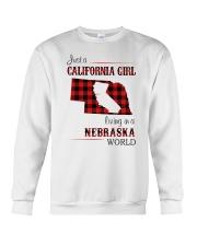 CALIFORNIA GIRL LIVING IN NEBRASKA WORLD Crewneck Sweatshirt thumbnail