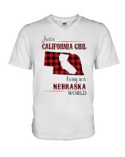 CALIFORNIA GIRL LIVING IN NEBRASKA WORLD V-Neck T-Shirt thumbnail