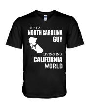 JUST A NORTH CAROLINA GUY LIVING IN CA WORLD V-Neck T-Shirt thumbnail