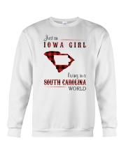 IOWA GIRL LIVING IN SOUTH CAROLINA WORLD Crewneck Sweatshirt thumbnail