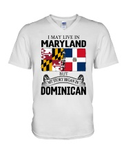 LIVE IN MARYLAND BEGAN IN DOMINICAN ROOT WOMEN V-Neck T-Shirt thumbnail