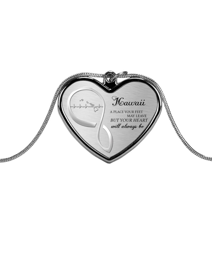 HAWAII YOUR HEART WILL ALWAYS BE Metallic Heart Necklace