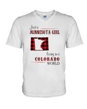 MINNESOTA GIRL LIVING IN COLORADO WORLD V-Neck T-Shirt thumbnail