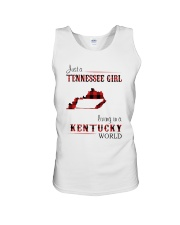 TENNESSEE GIRL LIVING IN KENTUCKY WORLD Unisex Tank thumbnail