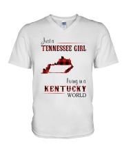 TENNESSEE GIRL LIVING IN KENTUCKY WORLD V-Neck T-Shirt thumbnail