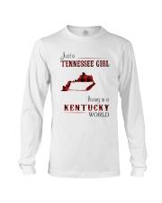 TENNESSEE GIRL LIVING IN KENTUCKY WORLD Long Sleeve Tee thumbnail