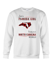FLORIDA GIRL LIVING IN NORTH CAROLINA WORLD Crewneck Sweatshirt thumbnail