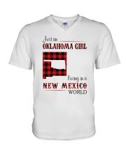 OKLAHOMA GIRL LIVING IN NEW MEXICO WORLD V-Neck T-Shirt thumbnail