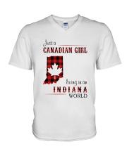 CANADIAN GIRL LIVING IN INDIANA WORLD V-Neck T-Shirt thumbnail