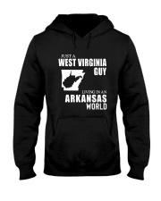 JUST A WV GUY LIVING IN ARKANSAS WORLD Hooded Sweatshirt thumbnail