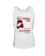 WEST VIRGINIA GIRL LIVING IN ALABAMA WORLD Unisex Tank thumbnail