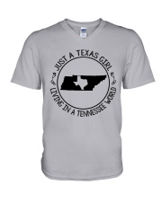 TEXAS GIRL LIVING IN A TENNESSEE WORLD V-Neck T-Shirt thumbnail