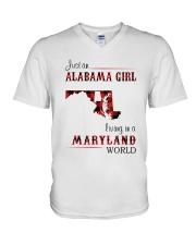 ALABAMA GIRL LIVING IN MARYLAND WORLD V-Neck T-Shirt thumbnail