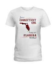 CONNECTICUT GIRL LIVING IN FLORIDA WORLD Ladies T-Shirt thumbnail