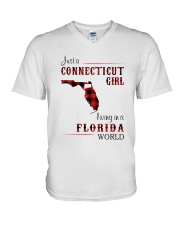 CONNECTICUT GIRL LIVING IN FLORIDA WORLD V-Neck T-Shirt thumbnail