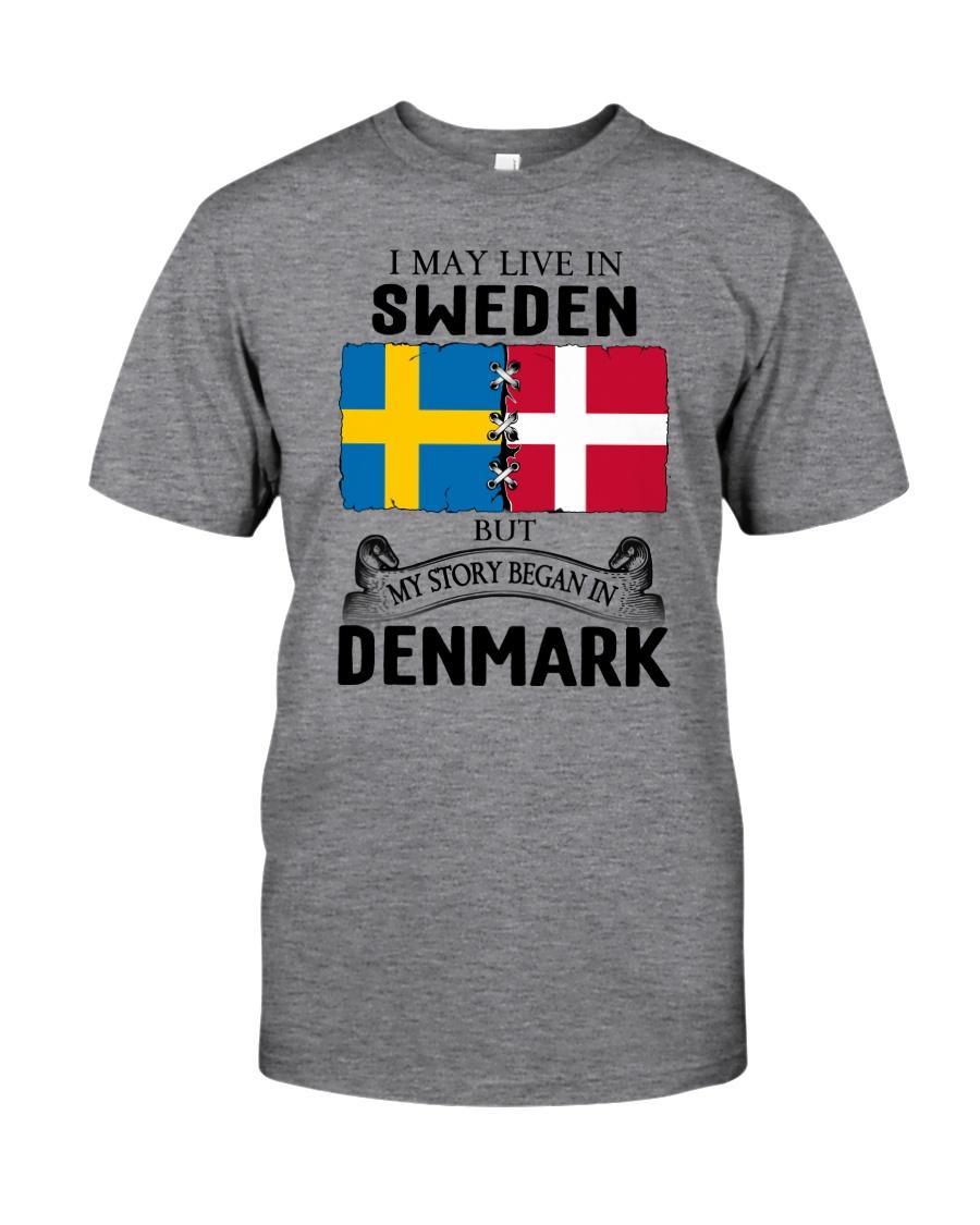 LIVE IN SWEDEN BEGAN IN DENMARK ROOT Classic T-Shirt