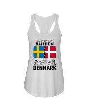 LIVE IN SWEDEN BEGAN IN DENMARK ROOT Ladies Flowy Tank thumbnail