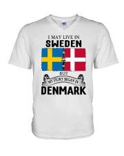 LIVE IN SWEDEN BEGAN IN DENMARK ROOT V-Neck T-Shirt thumbnail