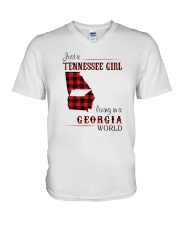 TENNESSEE GIRL LIVING IN GEORGIA WORLD V-Neck T-Shirt thumbnail