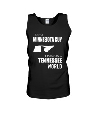 JUST A MINNESOTA GUY LIVING IN TENNESSEE WORLD Unisex Tank thumbnail
