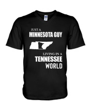 JUST A MINNESOTA GUY LIVING IN TENNESSEE WORLD V-Neck T-Shirt thumbnail