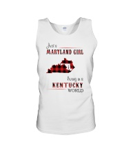 MARYLAND GIRL LIVING IN KENTUCKY WORLD Unisex Tank thumbnail