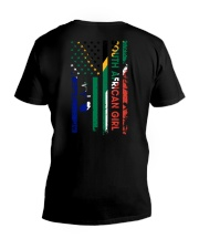 SOUTH AFRICAN GIRL AND FLAG V-Neck T-Shirt thumbnail
