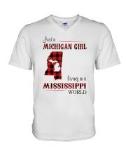 MICHIGAN GIRL LIVING IN MISSISSIPPI WORLD V-Neck T-Shirt thumbnail