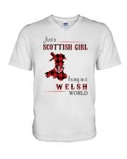 SCOTTISH GIRL LIVING IN WELSH WORLD V-Neck T-Shirt thumbnail