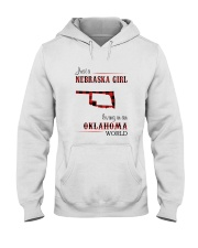 NEBRASKA GIRL LIVING IN OKALHOMA WORLD Hooded Sweatshirt thumbnail