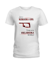 NEBRASKA GIRL LIVING IN OKALHOMA WORLD Ladies T-Shirt thumbnail