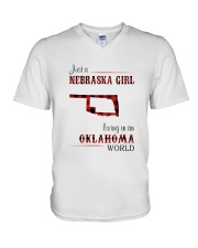 NEBRASKA GIRL LIVING IN OKALHOMA WORLD V-Neck T-Shirt thumbnail