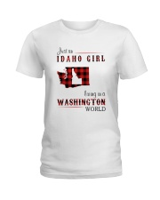IDAHO GIRL LIVING IN WASHINGTON WORLD Ladies T-Shirt thumbnail