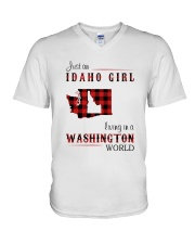 IDAHO GIRL LIVING IN WASHINGTON WORLD V-Neck T-Shirt thumbnail