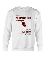 NEBRASKA GIRL LIVING IN FLORIDA WORLD Crewneck Sweatshirt thumbnail