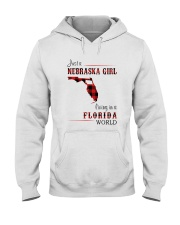 NEBRASKA GIRL LIVING IN FLORIDA WORLD Hooded Sweatshirt thumbnail