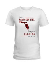 NEBRASKA GIRL LIVING IN FLORIDA WORLD Ladies T-Shirt thumbnail