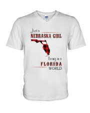 NEBRASKA GIRL LIVING IN FLORIDA WORLD V-Neck T-Shirt thumbnail