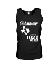 JUST A CHICAGO GUY LIVING IN TEXAS WORLD Unisex Tank thumbnail
