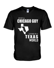 JUST A CHICAGO GUY LIVING IN TEXAS WORLD V-Neck T-Shirt thumbnail