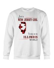 JERSEY GIRL LIVING IN ILLINOIS WORLD Crewneck Sweatshirt thumbnail